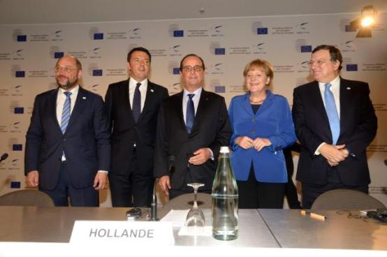 A High-level Conference on Employment in Europe was organized in Milan by Matteo Renzi, Italian Prime Minister and President in office of the Council of the EU during the second half of 2014 (second from left). On that occasion Renzi raised his concerns about the faltering growth in Eurozone. The French President Francois Hollande (next to Renzi) took the opportunity to support the Italian prime minister's views in the presence of the German Chancellor Angela Merkel. The President of the European Parliament Martin Schulz (first from left) and the then President of the EU Commission Manuel Barroso were also present. (EU Commission Audiovisual Services, 08/10/2014).