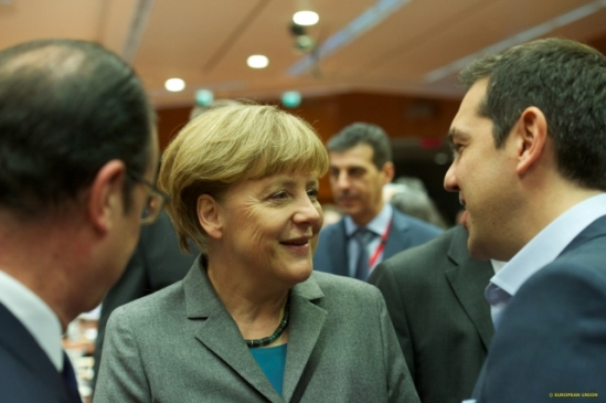 EU Heads of State and Government met at the European Council of 12 February 2015, in Brussels. From left to right: Francois Hollande, President of France, Angela Merkel, German Federal Chancellor, Alexis Tsipras, Greek Prime Minister. (Shoot location: Brussels – Belgium, Shoot date: 12/02/2015; European Council - Council of the European Union Audiovisual Services).