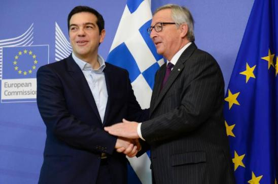 Handshake between Alexis Tsipras, Prime Minister of Greece on the left, and Jean-Claude Juncker, President of European Commission. Juncker received Tsipras warmly at the Berlaymont building, during the first visit of the former to the European Commission since he took office on 26/01/2015. Last Friday the President of the Commission played a decisive role in the conclusion of the Eurogroup agreement on Greece. (Date: 04/02/2015, Location: Brussels - EC/Berlaymont, EC Audiovisual Service).