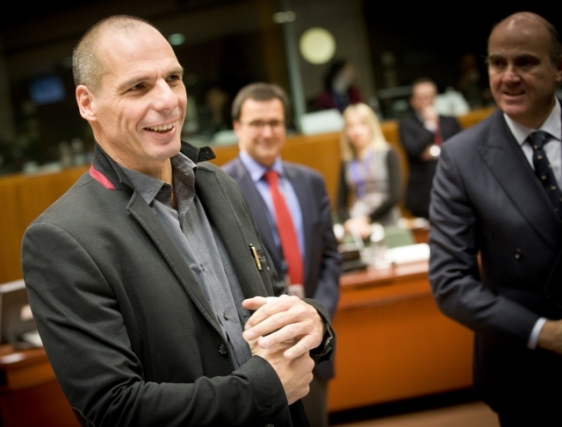 ECOFIN Council - February 2015. From left to right: Yanis Varoufakis, Greek Minister for Finance, Luis De Guindos Jurado, Spanish Minister for Economic Affairs and Competitiveness. (Audiovisual Services, European Council - Council of the European Union, Shoot location: Brussels - Belgium Shoot date: 17/02/2015).