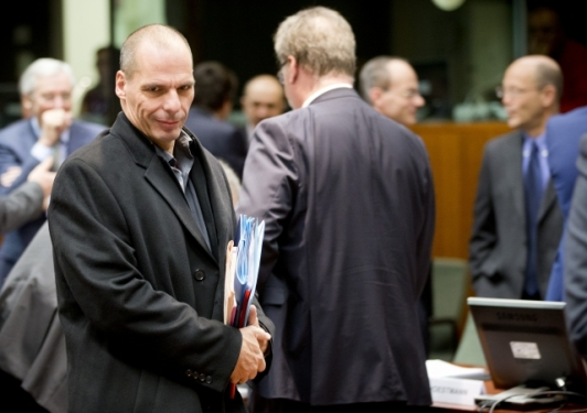 He is Alone and Ready to release the Greek bomb! Mr Yanis Varoufakis, Finance Minister of Greece at yesterday's ECOFIN Council in Brussels (EU Council TV Newsroom, 17/02/2015)