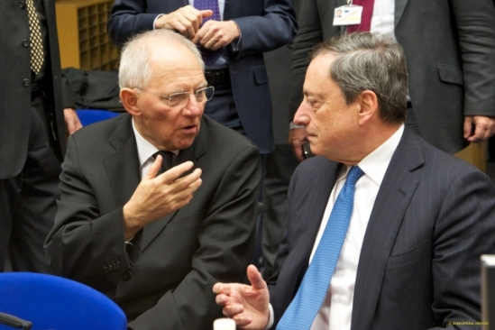 Eurogroup meeting - February 2015.  From left to right: Wolfgang Schauble, German Federal Minister for Finance, Mario Draghi, President of the European Central Bank. Eurozone finance ministers participate in an Extraordinary Eurogroup meeting on 11 February in Brussels. Extensive discussions for an agreement on the Greek program take place during today's Eurogroup meeting, in Brussels. (European Council - Council of the European Union Audiovisual Services, Shoot location: Brussels – Belgium Shoot date: 11/02/2015)