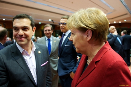"""It is always hard to face the truth"". Mrs Merkel is staring at Mr Tsipras but he is trying to avoid the stress of looking at her. Moment of truth for Athens to come in the next few days. From left to right, Mr Tsipras, Greek Prime Minister,at the background Mr Passos Coelho, Prime Minister of Portugal and Mr Alexander Stubb, Prime Minister of Finland, and Mrs Angela Merkel, German Federal Chancellor (TV Newsroom European Council, 19/03/2015)."