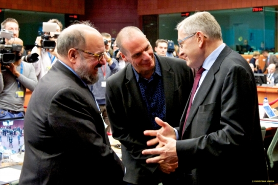 Eurogroup meeting. March 2015. Yianis Varoufakis, Greek Minister for Finance (in the middle), Klaus Regling, European Stability Mechanism Managing Director (on the right). (European Council - Council of the European Union Audiovisual Services, Shoot location: Brussels – Belgium, Shoot date: 09/03/2015).
