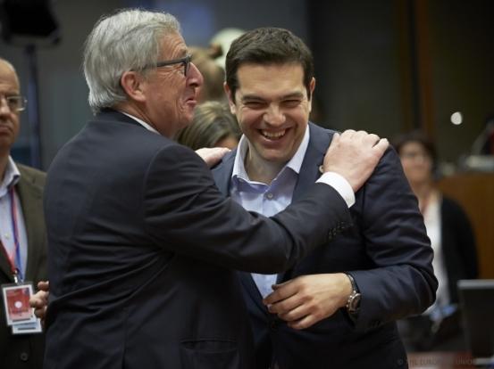 He who laughs last, laughs longest. Photo taken from last week's EU Summit on migratory pressure in the Mediterranean (TVNewsroom European Council, 23/04/2015)