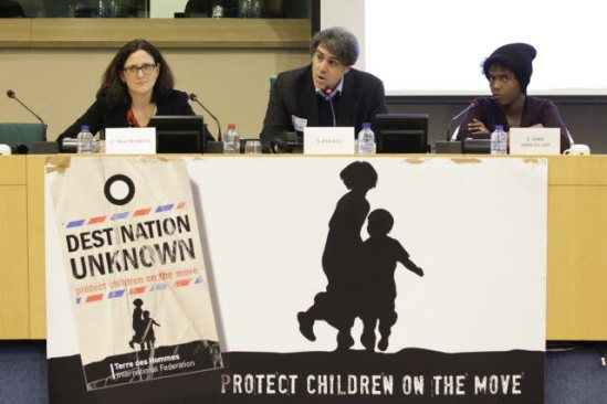 European Parliament. Conference: Children on the move: will the EU deliver on its commitments? From left to right: Cecilia Malstrom, Salvatore Parata , Farah Abdi Abdullahi. (EC Audiovisual Services 19/2/2014).