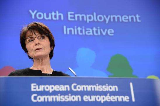 Marianne Thyssen, Member of the European Commission in charge of Employment, Social Affairs, Skills and Labor Mobility, gave a press conference after the EC proposed to make 1 billion euro from the Youth Employment Initiative available as early as this year. (EC Audiovisual Services, 04/02/2015).