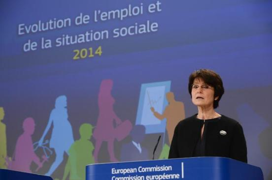 Marianne Thyssen, Member of the European Commission in charge of Employment, Social Affairs, Skills and Labour Mobility, gave a press conference on the 2014 Employment and Social Development in Europe Report, which looked back to the consequences of the recession. (EC Audiovisual Services, Brussels - EC/Berlaymont 15/01/2015).
