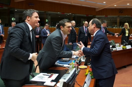 European Council - March 2015 (Day 2). In the forefront, from left to right: Matteo Renzi, Italian Prime Minister, Alexis Tsipras, Greek Prime Minister, Francois Hollande, President of France. (European Council – Council of the European Union, Audiovisual Services, Shoot location: Brussels - Belgium, Shoot date: 20/03/2015).