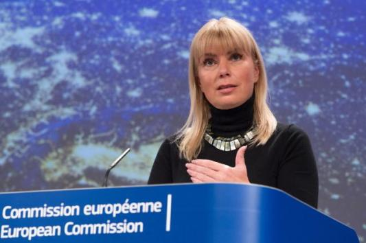 Elżbieta Bieńkowska, Member of the EC in charge of Internal Market, Industry, Entrepreneurship and SMEs, gave a press conference following the successful launch of two Galileo satellites. (EC Audiovisual Services, 31/03/2015)