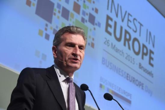 Commissioner Günther Oettinger, Member of the EC in charge of Digital Economy and Society at BusinessEurope Day on the investment in Europe last March (EC Audiovisual Services, 26/03/2015)
