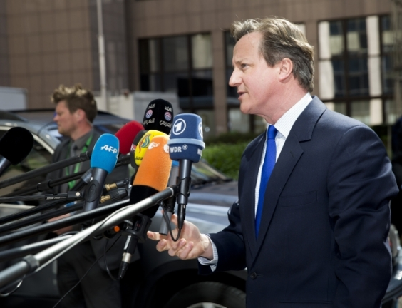 UK's Prime Minister, David Cameron, arriving at last EU Summit in April (Council TVnewsroom, 23/04/2015)