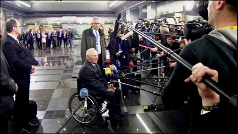 Departure and doorstep comments by Wolfgang Schauble, German Minister for Finance, at the Eurogroup meeting of 24 April 2015, in Riga, Latvia. The German minister is Eurogroup's opinion maker when it comes to serious matters as for example Greece's position in or out of Eurozone. (European Council - Council of the European Union, Newsroom. Shoot date: 24/04/2015 Riga, Latvia. Snapshot from a video footage).