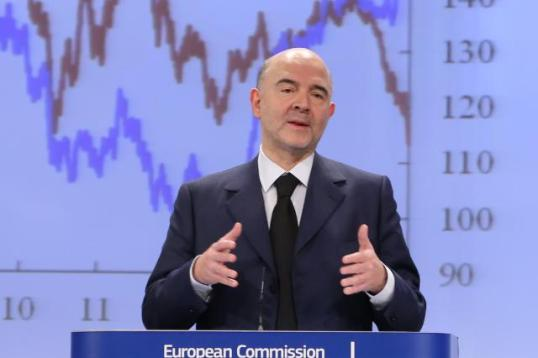 Pierre Moscovici, Member of the EC in charge of Economic and Financial Affairs, Taxation and Customs, gave a press conference on the Winter European Economic Forecasts for 2014, 2015 and 2016. (EC Audiovisual Services, 05/02/2015, Brussels - EC/Berlaymont).