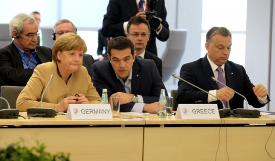 Alexis is willing to listen now but Angela's body language says it is too late! From left to right, Mrs Angela Merkel, Chancellor of Germany and Mr Alexis Tsipras, Prime Minister of Greece. The photo was taken during the 4th Eastern Partnership Summit that took place on 21 and 22 May 2015 in Riga. At this occasion, EU leaders met representatives of the EaP partner countries to reconfirm the importance the EU attaches to its Eastern Partnership (EaP) (Council TV Newsroom, 22/05/2015)