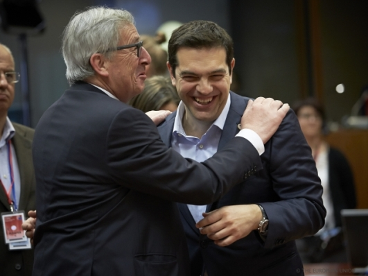 Let's see who laughs last! From left to right: Mr Jean-Claude JUNCKER, President of the European Commission; Mr Alexis TSIPRAS, Greek Prime Minister at a Previous EU Summit last April (Council TVnewsroom, 23/04/2015)