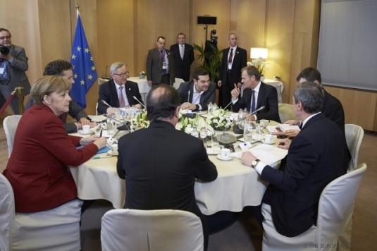 European Council of March 2015. Informal meeting on Greece in the margin of the European Council. From left to right: Angela Merkel, German Federal Chancellor, Jean-Claude Junker, President of the European Commission, Alexis Tsipras, Greek Prime Minister, Donald Tusk, President of the European Council, Uwe Corsepius, Secretary-General of the Council, Mario Draghi, President of the European Central Bank, Francois Hollande, President of France. (European Council – Council of the European Union, Shoot location: Brussels – Belgium, Shoot date: 20/03/2015).