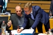 """GO HOME!"", Mr Stubb might as well be writing to Yanis yesterday at ECOFIN. From left to right: Mr Yanis VAROUFAKIS, Greek Minister for Finance; Mr Alexander STUBB, Finnish Minister for Finance. (TVnewsroom European Council, 19/06/2015)"