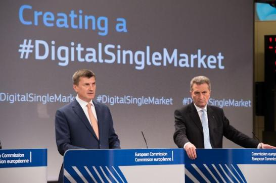 Joint press conference by Andrus Ansip, Vice-President of the EC, and Günther Oettinger, Member of the EC, on EU Digital Single Market last May (EC Audiovisual Services, 06/05/2015)