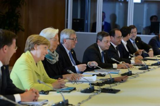 Mark Rutte, Dutch Prime Minister, Angela Merkel, German Federal Chancellor, Christine Lagarde, Managing Director of the International Monetary Fund (IMF), Jean-Claude Juncker, President of the European Commission, Mario Draghi, President of the European Central Bank (ECB), François Hollande, President of the French Republic, Alexis Tsipras, Greek Prime Minister, and Mariano Rajoy Brey, Spanish Prime Minister (from left to right). The Heads of State or Government of the countries in the Eurozone, met in Brussels for Euro Summit on Greece (Euro Summit, 22/06/2015). (EC Audiovisual Services).