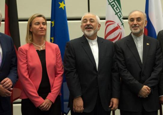 Ali Akbar Salehi, Head of Iran Atomic Energy Organization (AEOI), Mohammed Javad Zarif Iranian Minister for Foreign Affairs and Federica Mogherini High Representative of the Union for Foreign Affairs and Security Policy and Vice-President of the EC (from right to left).Mongherini, went to Vienna to participate in the nuclear negotiations with Iran. The Vice-President met with the E3/EU+3 Ministers for Foreign Affairs as well as Mohammed Javad Zarif. After several days of negotiations, the several parties had been able to reach an agreement. Zarif seems the happiest of then all for a good reason. He was looking forward to a hero's welcome back to Tehran the next day. (EC Audiovisual Services, 14/07/2015 Location: Vienna - Palais Coburg).