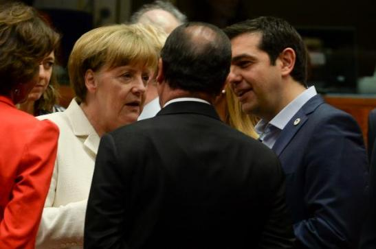 Eurozone Summit of 12/07/2015. German Chancellor Angela Merkel, the Greek Prime Minister Alexis Tsipras and the French President Francois Hollande (seen from behind) have a private discussion ahead of the summit. (EC Audiovisual Services, Date: 13/07/2015).