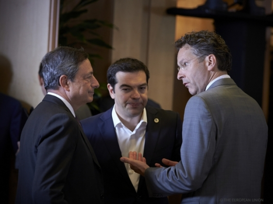 """""""Do you see how calm he is with the Greek banks shut""""? Dijssebloem could as well be telling to Draghi yesterday at the Euro Summit. From left to right, Mario Draghi, Governor of the European Central Bank, Alexis Tsipras, Prime Minister of Greece, Jeroen Dijssebloem, President of the Eurogroup and Finance Minister of the Netherlands. (Council TVnewsroom, 07/07/2015)"""