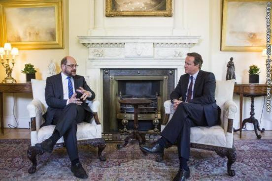 Martin Schulz,  President of the European Parliament (on the left) paid an official visit to Britain. He met with the British Prime Minister David Cameron at Number 10 Downing Street in London. Event Date: 18/06/2015.  Copyright: © European Union 2015 - Source : EP.