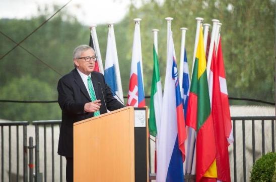 The European Union celebrated the 30th anniversary of the Schengen Agreement, and the sealing of its borders. Jean-Claude Juncker at the podium. (EC Audiovisual Services, Date: 13/06/2015 Location: Schengen).