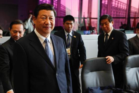 Xi Jinping, President of the People's Republic of China, visited the European Commission. Jinping, in the foreground, on the left photographed here with Li Zhanshu, Member of the Political Bureau of the Central Committee of the Communist Party of China (CCCPC); Member of the Secretariat of the CCCPC; Head of the General Office of the CCCPC, on the right. (EC Audiovisual Services, Date: 31/03/2014 Location: Brussels - EC/Berlaymont).