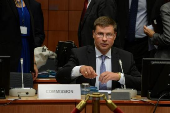 Valdis Dombrovskis, the Vice-President of the European Commission in charge of the Euro participates regularly in the meetings of Eurogroup. (EC Audiovisual Services, Date: 14/08/2015 Location: Brussels - Council/Justus Lipsius).