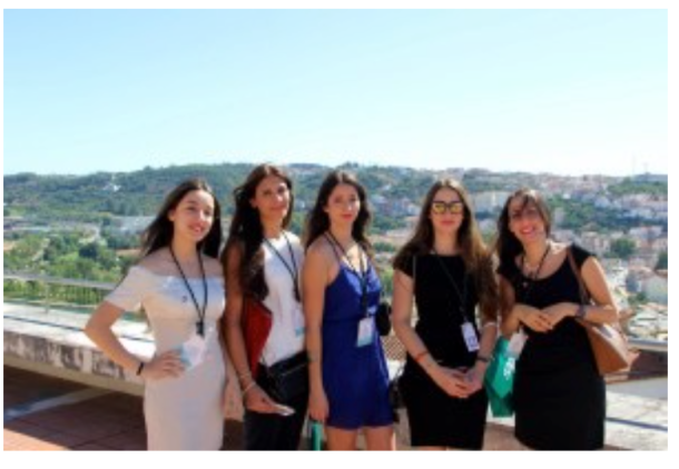 Myriam Saidane (second from the right) in front of the beautiful scenery of Coimbra