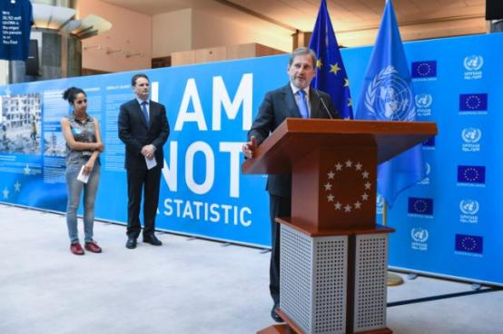 Opening of the photo exhibition entitled 'I Am Not a Statistic' organised at the European Parliament, with the participation of Johannes Hahn, Member of the European Commission at the rostrum. (European Commission Audiovisual Services, Date: 30/06/2015, Location: Brussels – European Parliament).