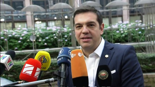 Arrival and doorstep statement by Alexis Tsipras the just reelected Prime Minister of Greece, at the Informal meeting of Heads of State or Government, on 23 September 2015, in Brussels. (European Council – Council of the European Union Audiovisual Services, Snapshot from a video footage).