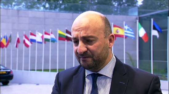 Arrival and doorstep comments by Étienne Schneider, Luxembourg Deputy Prime Minister and Minister of the Economy, at the Informal Meeting of Energy, on 23 September 2015, in Luxembourg. He answered questions about the Volkswagen affair without being able to clarify the matter from EU's perspective. Luxembourg currently holds the rotating EU Presidency. (European Council – Council of the European Union Audiovisual Services. Snapshot from a video footage, 23/09/2015).