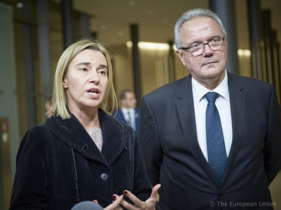 3420th Foreign Affairs Council (Development). EU Ministers of Foreign Affairs and Development meet in Luxembourg on 26 October 2015 to focus on humanitarian affairs, migration and development, the future EU-ACP relationship and gender in development. From left to right: Ms Federica MOGHERINI, High Representative of the EU for Foreign Affairs and Security Policy; Mr Neven MIMICA, Member of the European Commission (TVNewsroom EU Council, 26/10/2015)