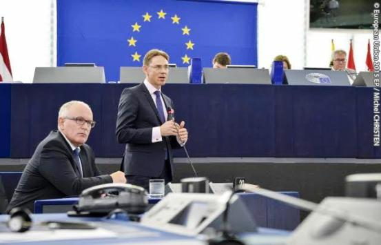 Jyrki Katainen, European commissioner in charge of Economic and Monetary Affairs and the Euro speaks at the plenary session of the European Parliament in Strasbourg about resource efficiency in the EU (Copyright: © European Union 2015 EP).