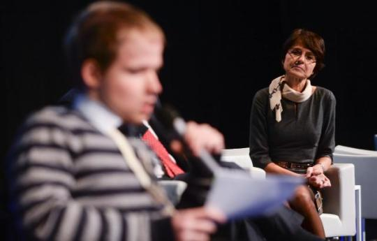 Marianne Thyssen, Member of the EC in charge of Employment, Social Affairs, Skills and Labour Mobility, participated in the 4th Annual Convention of the European Platform against Poverty and Social Exclusion. Obviously the EU doesn't focus where the real needs are. Brussels prefers to promote its own irrelevant actions and faces. (EC Audiovisual Services. Location: Brussels - The Egg).