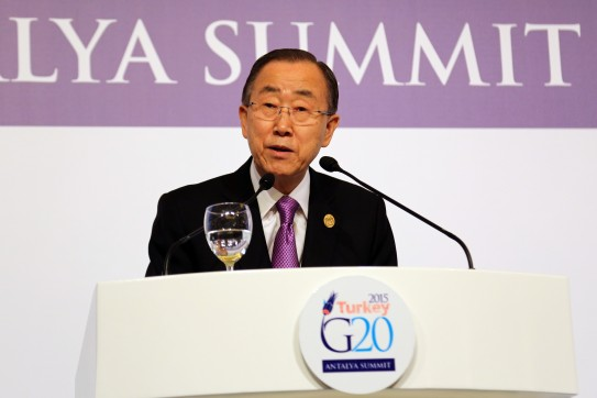 UN Secretary General Ban Ki-moon at his press conference given in the afternoon of 15 November 2015 at the International Media Center of G20, Antalya, Turkey.