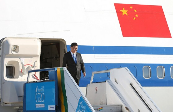 ANTALYA, TURKEY - NOVEMBER 14 : Chinese President Xi Jinping arrives at the Antalya International Airport for the G20 Turkey Leaders Summit on November 14, 2015 in Antalya, Turkey. The 2015 G-20 Leaders Summit will be held in Antalya on November 15-16, 2015. Okan Ozer / Anadolu Agency