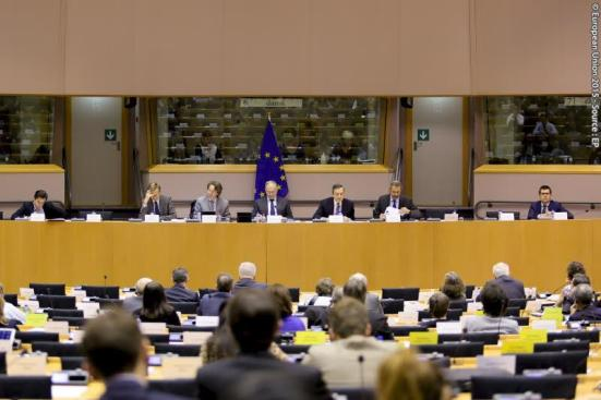 European Parliament. Committee on Economic and Monetary Affairs (ECON) meeting: 'Monetary Dialogue with the President of the European central bank. Mario Draghi (third from right), Roberto Gualtieri (S&D, IT) chair ECON Committee (in the middle), Sander Loones (ECR, BE) (first from right), Pablo Zalba-Bidegain, (EPP, ES) (first from left). (European Parliament Audiovisual Services, Event Date: 12/11/2015, City: Brussels, Bergium, Copyright: © European Union 2015 - Source : EP).