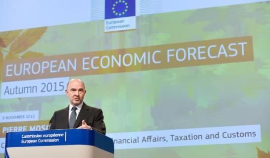 Pierre Moscovici, Member of the European Commission in charge of Economic and Financial Affairs, Taxation and Customs, gave a press conference on the 2015 Autumn Economic Forecast. (EC Audiovisual Services. Date: 05/11/2015. Location: Brussels - EC/Berlaymont).