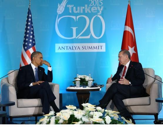 ANTALYA, TURKEY - NOVEMBER 15 : Turkish President Recep Tayyip Erdogan (R) holds a bilateral meeting with US President Barack Obama (L) within the G20 Turkey Summit on November 15, 2015 in Antalya, Turkey. The 2015 G-20 Leaders Summit will be held in Antalya on November 15-16, 2015. Kayhan Ozer / Anadolu Agency