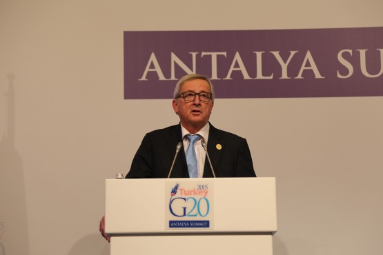 From left to right, EU Commissioner Jean Claude Juncker and European Council President Donald Tusk during the G20 Leaders Summit Antalya, Turkey