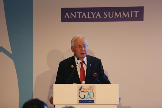 ANTALYA, TURKEY - NOVEMBER 15: Malaysian Prime Minister Najib Razak holds a press conference within the G20 Turkey Leaders Summit on November 15, 2015 in Antalya, Turkey. Cem Genco / Anadolu Agency