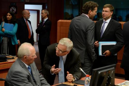 Wolfgang Schäuble, German Federal Minister for Finance, 1st from the left; discussion between Jeroen Dijsselbloem, Dutch Minister for Finance and President of Eurogroup, 2nd from the right, and Valdis Dombrovskis, Vice-President of the European Commission in charge of the Euro 1st from the right. The most important Eurozone dignitaries favoring economic 'orthodoxy' are pictured here. Date: 14/08/2015. Location: Brussels - Council/Justus Lipsius. © European Union, 2015 / Source: EC - Audiovisual Service, Shimera/ Photo: Etienne Ansotte.