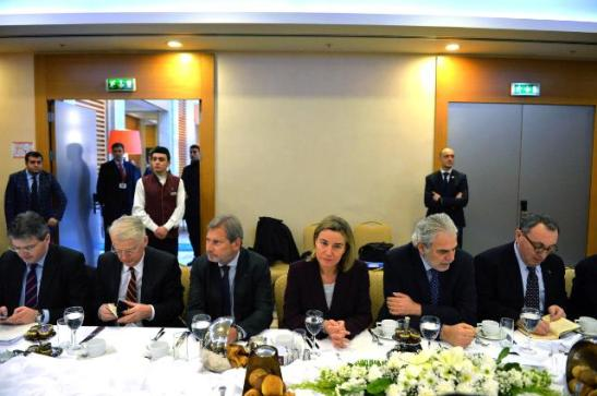 Michael Karnitschnig, Head of Cabinet of Johannes Hahn, Hansjörg Haber, Head of the Delegation of the EU to Turkey, Johannes Hahn, Commissioner for European Neighborhood Policy and Enlargement Negotiations, Federica Mogherini, High Representative for Foreign Affairs and Vice-President of the EC, Christos Stylianides, Member of the EC in charge of Humanitarian Aid and Crisis Management and Stefano Manservisi, Head of Cabinet of Federica Mogherini (seated, from left to right). Date: 24/01/2016,  Location: Ankara. © European Union, 2016 / Source: EC - Audiovisual Service   /   Photo: Necati Savaş.