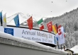 DAVOS/SWITZERLAND, 19JAN16 - View of the Congress Center with the different flags of participating countries ahead of the Annual Meeting 2016 of the World Economic Forum in Davos, Switzerland, January 19, 2016.    WORLD ECONOMIC FORUM/swiss-image.ch/Photo Michael Buholzer
