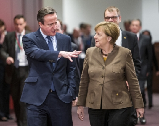 Discussions at the European Council of 18 and 19 February were dominated by the negotiations on the UK deal and the ongoing migration and refugee crisis. David Cameron, UK Prime Minister (on the left) and Angela Merkel, German Federal Chancellor walking together to the meeting room. Shoot location, Brussels – Belgium. Shoot date 18/02/2016. Copyright 'The European Union'.