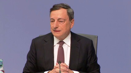 European Central Bank President Mario Draghi appears today at the European Parliament on the occasion of the plenary debate on the ECB's Annual Report for 2014. (ECB Audiovisual Services. Snapshot from the video of ECB Press Conference of 21 January 2016).